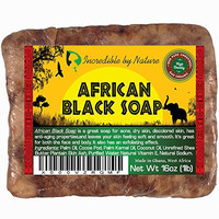 #1 Best Quality African Black Soap - 1lb (16oz) Raw Organic Soap for Acne, Eczema, Dry Skin, Psoriasis, Scar Removal, Face & Body Wash, Authentic Beauty Bar From Ghana West Africa Incredible By Nature...