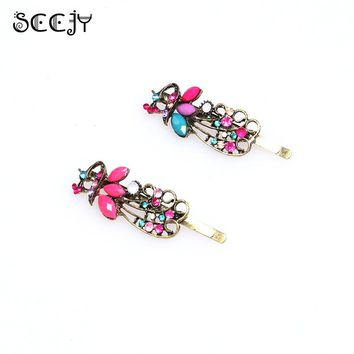 SCCJY Vintage Womens Ladies Colorful Rhinestone Peacock Hairpin Barrette Hair Clip Hair Accessories Jewelry A3R24C
