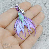 Mermaid Tail pendant #4 Purple / Bilberry Crush