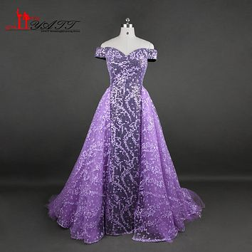New Arrival 2017 Evening Prom Dresses With Detachable Train Boat Neck Puffy Purple Lace Vintage Luxury Dubai Arabic Liyatt