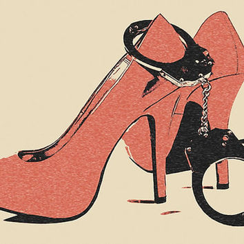 Erotic Art 200gsm poster - Dirty Girls, Naughty Toys, Kinky Play, red heels and cuffs bdsm, bondage art, hot conte style print 300dpi sketch