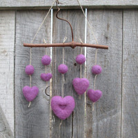 Valentines mobile Felted Purple Heart Mobile Mother's Day Gift Easter Decor Home Decor Rustic Nature inspired Woodland Lovely Gift