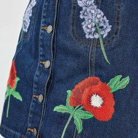 MOTO Floral Embroidered Skirt | Topshop