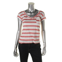 American Rag Womens Striped Short Sleeves Casual Top