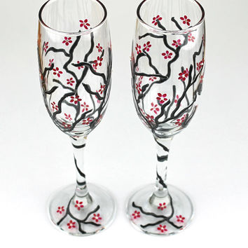 Champagne Flutes, Toasting Glasses, Wedding Glasses,  Anniversary glasses, Cherry Blossom design, Hand painted, Set of 2, Ready to ship