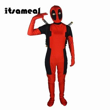 Deadpool Dead pool Taco Cool KIds  Costume Red full body spandex Boy  Cosplay Costumes Two style  costume  For Kids AT_70_6