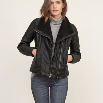 Sherpa Lined Vegan Leather Jacket