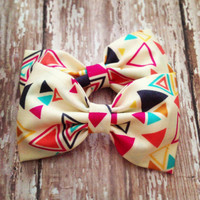 Aztec fabric hair bow triangles cream turquoise by SplendidBee