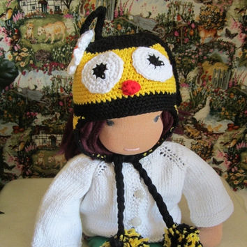 "ON SALE - 10% OFF Crochet bee hat  for 16""-18"" Waldorf doll and American girl doll"