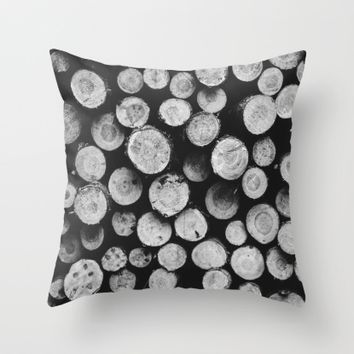 Wood Throw Pillow by Black Winter