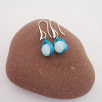 Opolite Wire Wrapped Earrings, Blue Wire Wrapped Earrings