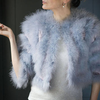 Vintage Wedding Bolero for petite women. Shrug Bridal Blue Marabou Feather. Ostrich Down Capelet. Bolero Ostrich blue feather pink satin