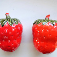 Vintage Jumbo Strawberry Salt and Pepper Shakers 1960s