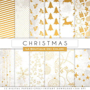 White and Gold  Christmas digital paper, gold background, christmas tree, stars, snowflakes background for Commercial Use