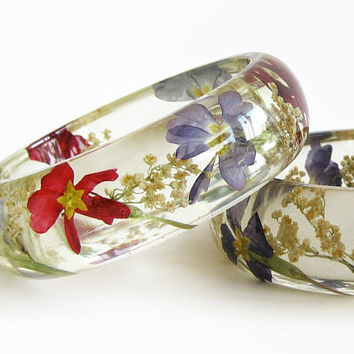 Real Flower Bracelet, Boho Women Gift, Nature Jewelry, Clear Resin Bangle, Real Plant Jewelry, Wild Meadow Flower