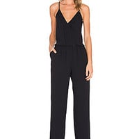 Beata Satin Back Jumpsuit in Caviar
