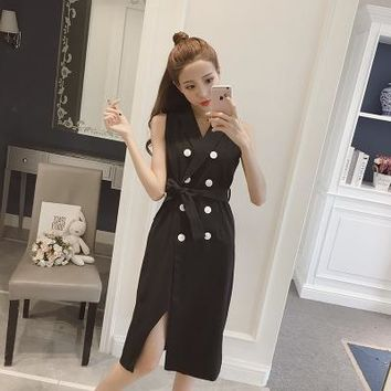 Women's Summer sleeveless split business casual One Piece Dress a13893