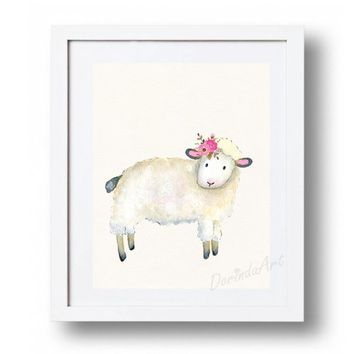 Lamb print Nursery Lamb printable Watercolor Lamb wall art Floral Lamb decor Little girls room Farm animal 5x7 8x10 11x14 16x20 DOWNLOAD
