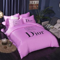 DIOR Bedding Blanket Quilt coverlet Pillow shams 4 PC Bedding SET