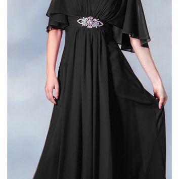 CLEARANCE - Long Chiffon Grecian Black Dress Mid Length Sleeves V Neck (Size XL)
