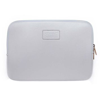 Leather Laptop Sleeve Zipper Case Cover 14 Inch Computer Bag Simple Style WHITE
