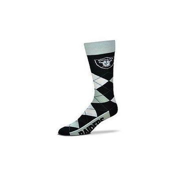 NFL Oakland Raiders Argyle Unisex Crew Cut Socks - One Size Fits Most