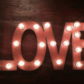 LOVE Wedding Lighted Marquee Sign made of Rusty Rusted Recycled Metal Vintage inspired