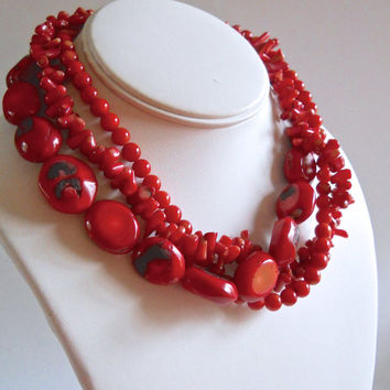 Red Coral Necklace Sterling Silver, Triple Strand, Toggle Clasp, Vintage