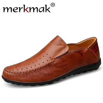 Merkmak Oxford Men's Shoes Fashion Genuine Leather Flats Loafer Casual Breathable Holes Footwear Shoes Handmade Moccasins Zapato