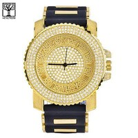 Jewelry Kay style Men's Hip Hop 14k Gold Plated Silicone Band Techno Pave Men's Watch WR 7840 GBK