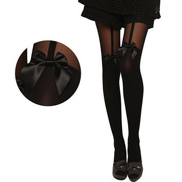New 2017 Fashion Women Warm Tights Bow Pantyhose Tattoo Mock Bow Suspender Sheer Lace Stockings Fishnet Knee High Long Tights