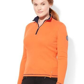 Lauren Ralph Lauren Plus Half Zip Cotton Pullover