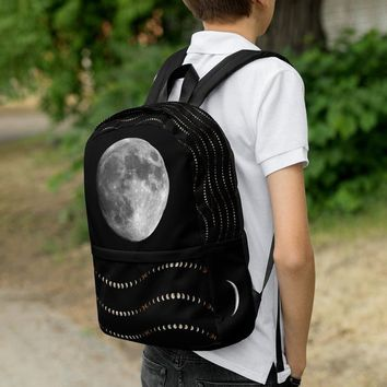Moon Phase Backpack | Laptop Bag | Full Moon Crescent Print | Book Bag | Witchy Witch | School Bag | Back To School | Halloween Aesthetic
