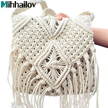 2017 Women Crochet Fringed Messenger Bags Tassels Cross Bag Beach Bohemian Tassel Shoulder Bag   B70-387