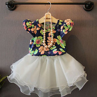 2pc Girls Short Sleeve Floral T Shirt + Skirt