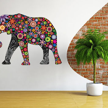 Elephant wall decal, children wall sticker elephants art, floral elephant decal wall decor removable vinyl animal abstract colorful [FL074]