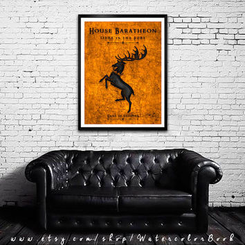Game Of Thrones art print. House Baratheon poster. Modern 3D art Handmade poster.