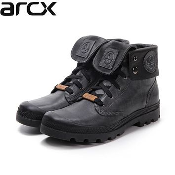 Men's Cowhide Leather Harness Riding Ankle Strapped Pull-on Combat Motorcycle Boots