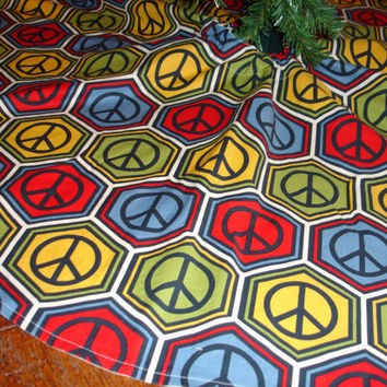 Peace Sign Christmas Tree Skirt by KaysGeneralStore on Etsy