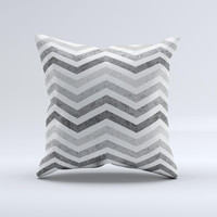 Gray Toned Wide Vintage Chevron Pattern Ink-Fuzed Decorative Throw Pillow