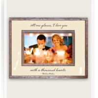 At One Glance, I Love You With A Thousand Hearts Copper & Glass Photo Frame