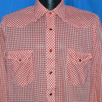70s Wrangler Red White Gingham Pearl Snap Shirt Medium