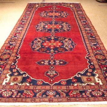 6 x 14 Red Runner Hand-Knotted Solid All-Over 3 Medallions Original Rug