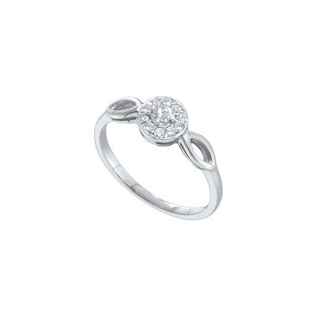 14kt White Gold Womens Round Diamond Solitaire Promise Bridal Ring 1/8 Cttw 51299