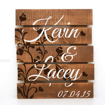 Distressed Name Sign- Rustic Pallet, Primitive Home Decor, Custom Wood Sign, Wood Love Sign, Bedroom Decor