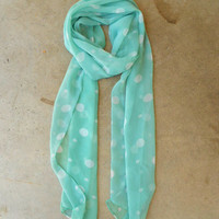 Mint Polka Dot Scarf [4120] - $12.00 : Vintage Inspired Clothing & Affordable Summer Frocks, deloom | Modern. Vintage. Crafted.