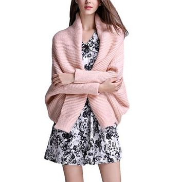 [15674] Bat Sleeve Wide Lapel Knit Cardigan