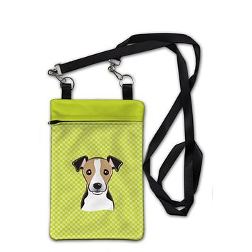 Checkerboard Lime Green Jack Russell Terrier Crossbody Bag Purse BB1323OBDY