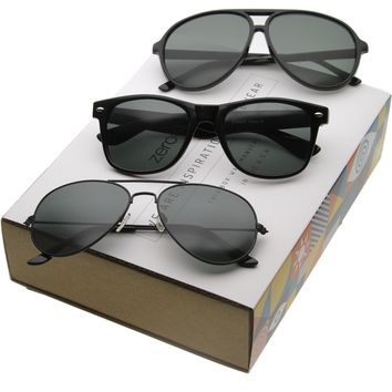 Classic Retro Horned Rim And Aviator Iconic Sunglasses C043 [Promo Box]