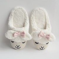 FunShop Women's Bowtie Sheep Shape Faux Fur White Indoor Slippers F1104